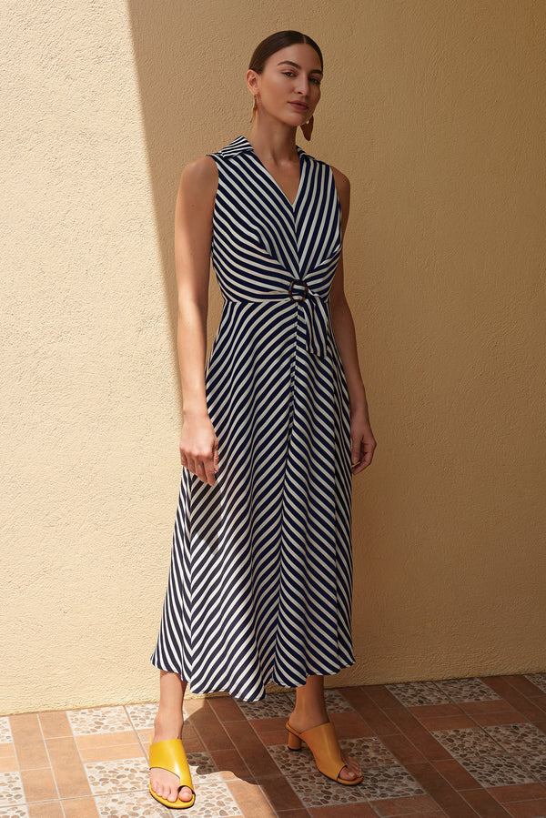 Navy & Vanilla Stripe Dress 201340 - After Hours Boutique