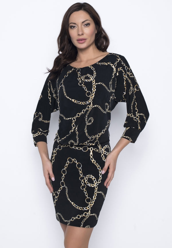 Black & Gold Chain Link Print Dress 203357 - After Hours Boutique