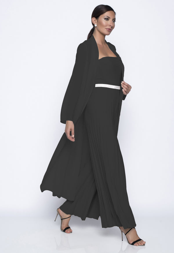 Chiffon Knit Sheer Duster Jacket in Black 208223 - After Hours Boutique