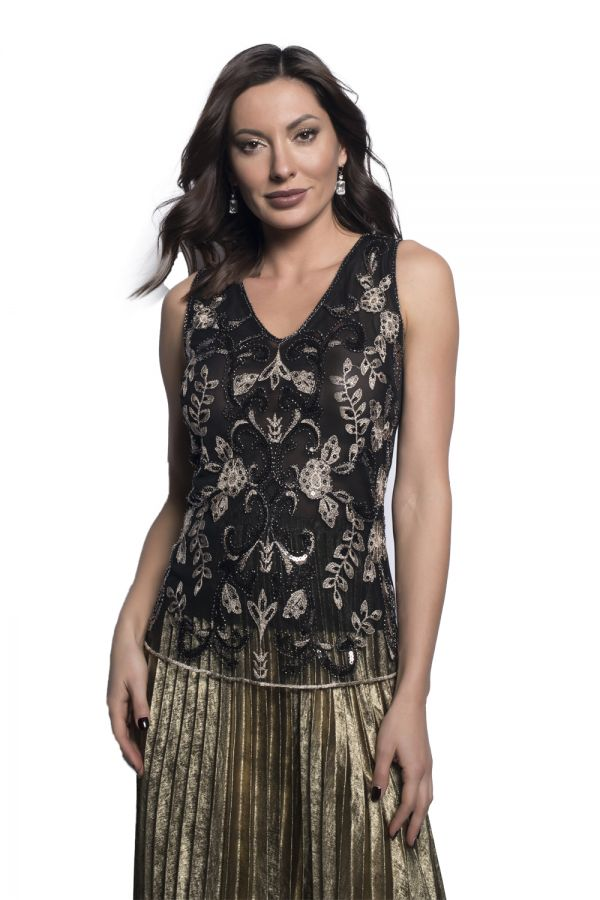 Black & Gold Beaded Sequin Top 209106U