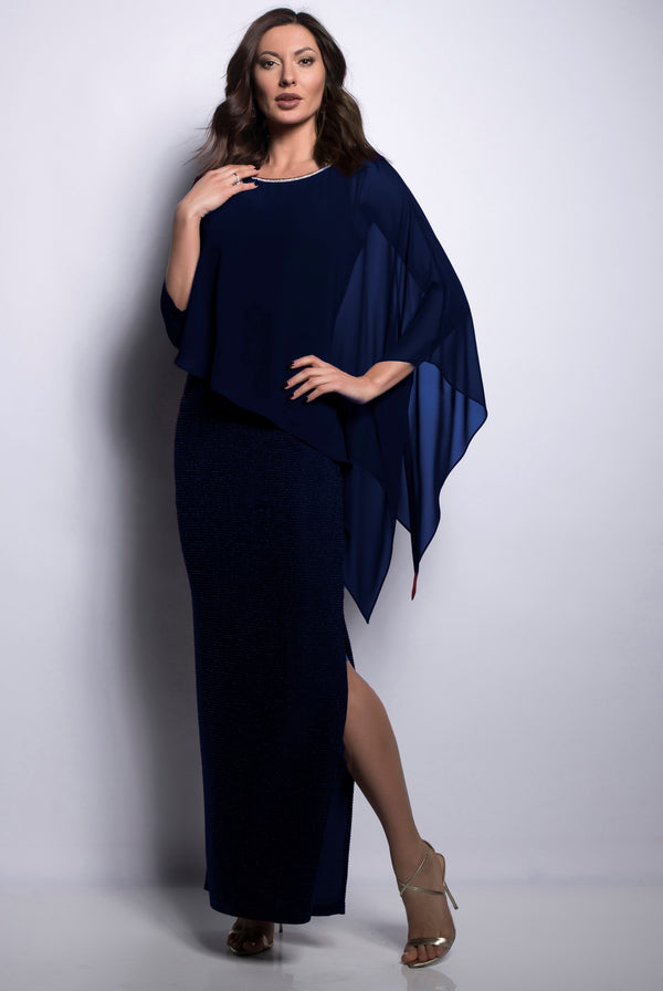 Diamante & Chiffon Asymmetrical Top Midnight 209296