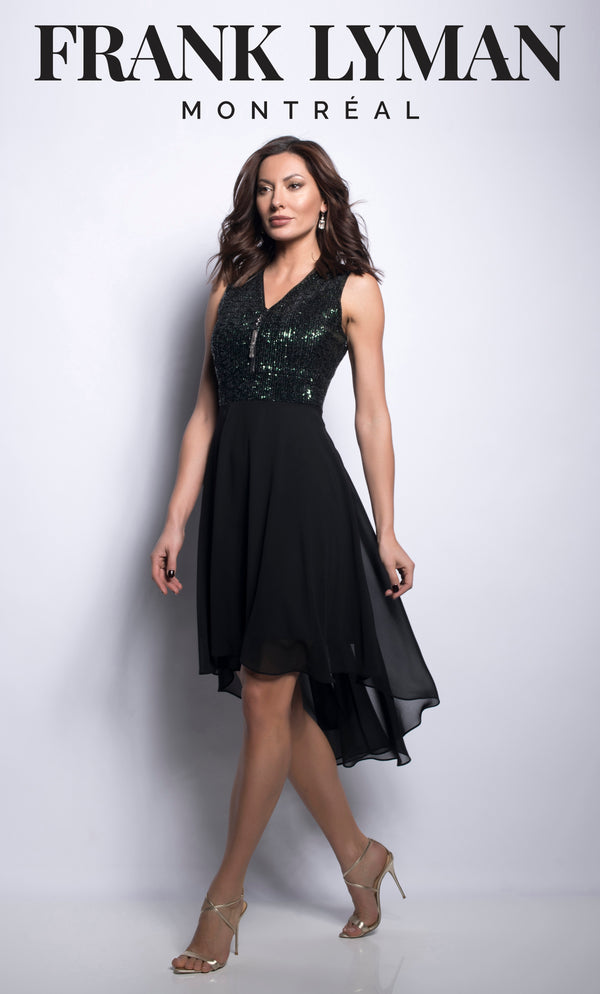 Gold & Black Sequin Dress with Chiffon Skirt 209452