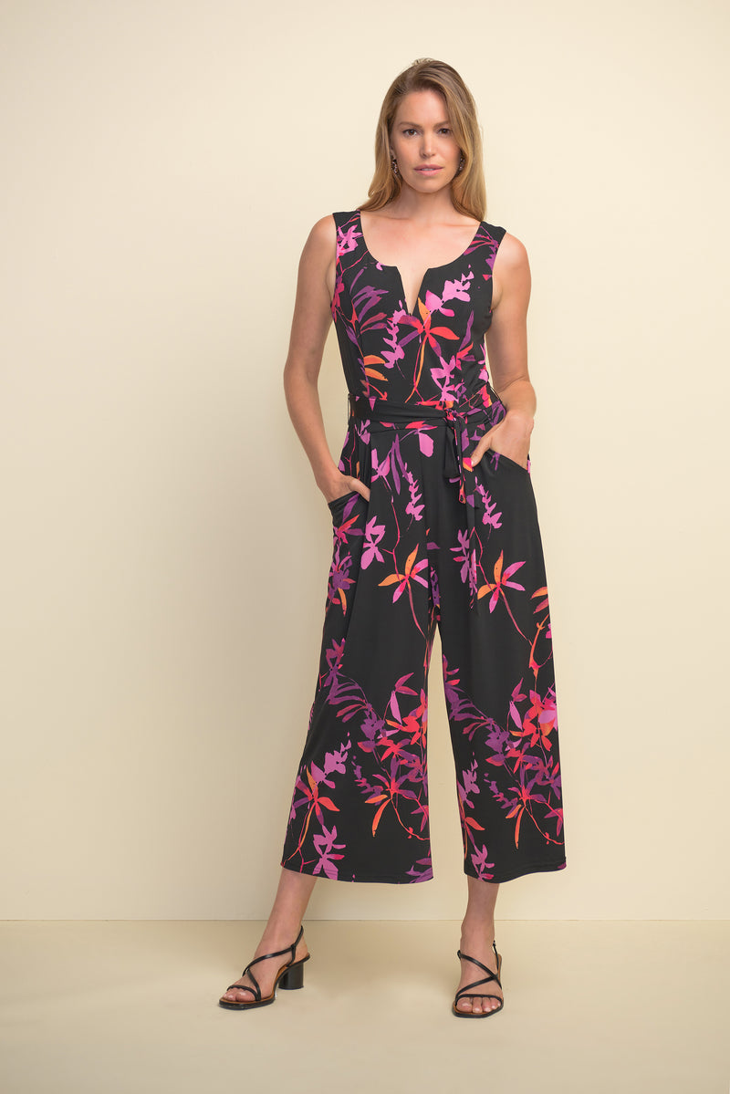 Tropical Print Sleeveless Jumpsuit 211112