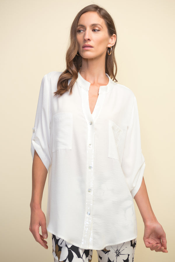 Off White Short Sleeved Shirt with Sequin Tim 211170