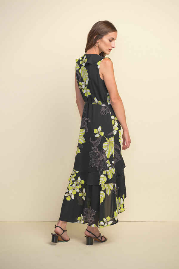 Georgette Floral Print Faux Wrap Dress 211483