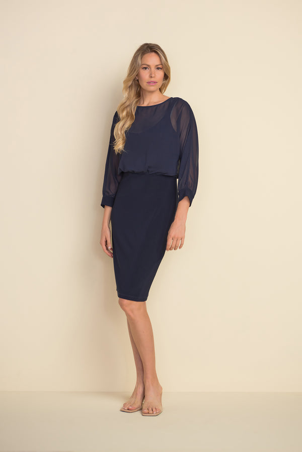 Midnight Blue Chiffon Blouson Dress 212309