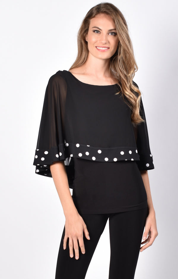 Black & White Spot Chiffon Top 216561
