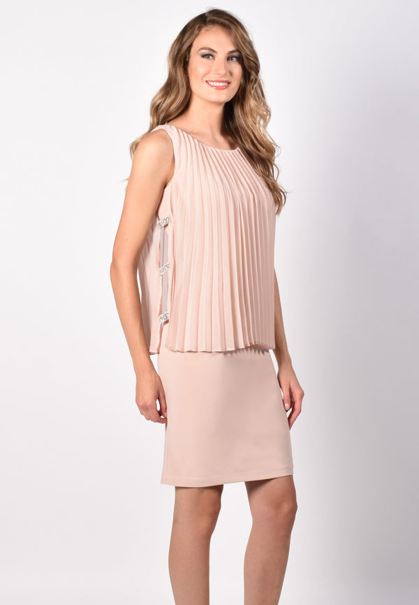 Seashell Sheath Dress with Pleated Overlay 218173