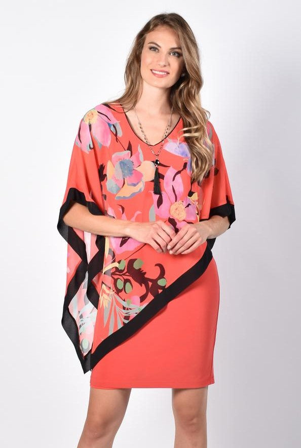Orange Sheath Dress with Tropical Print Chiffon Overlay 218315