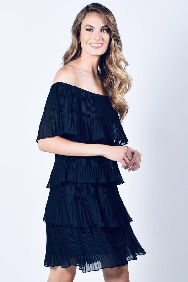 Midnight Blue Pleated Off The Shoulder Dress 218157