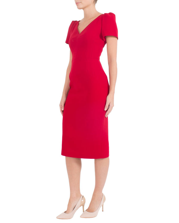 Red Crepe Dress DF10445 - After Hours Boutique