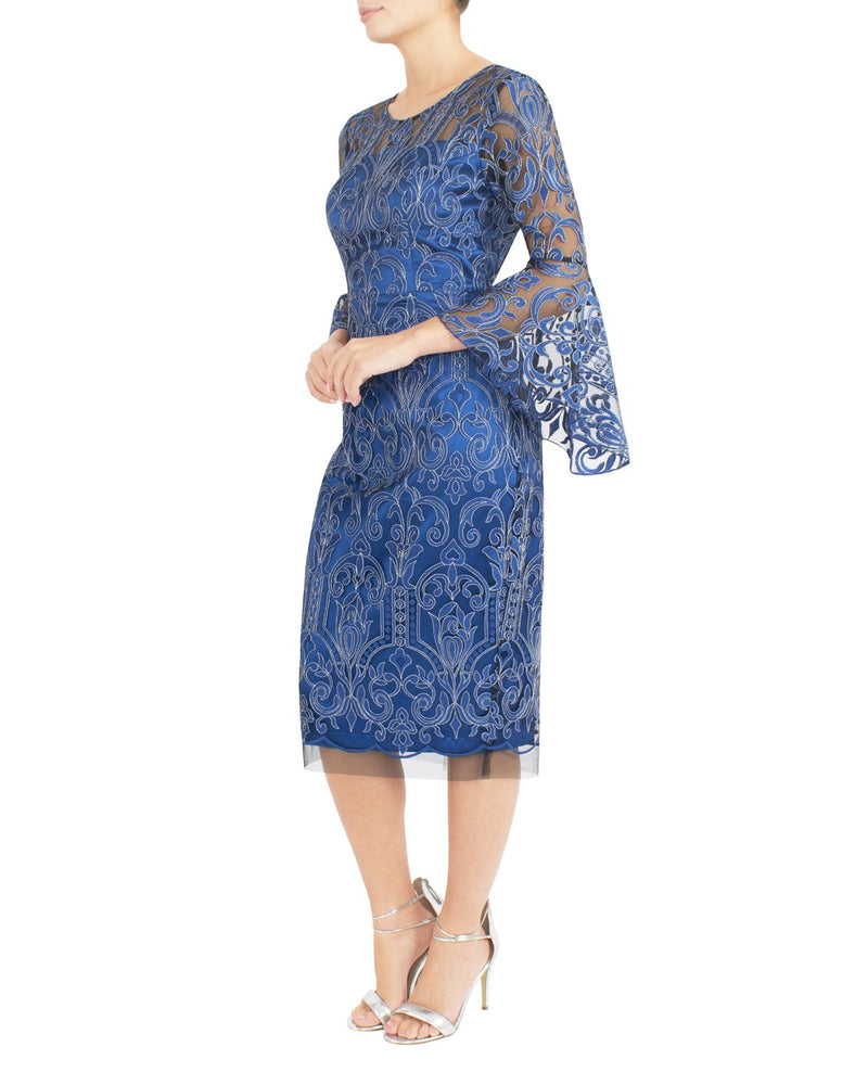 Azure Embroidered Shift Dress FB10429 - After Hours Boutique