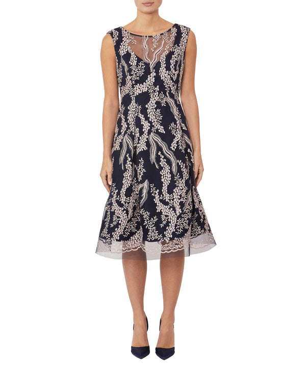 Wisteria Embroidered A-Line Dress