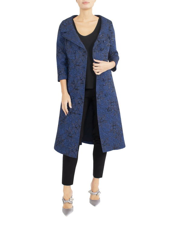 Dark Royal Jacquard Coat Dress HQ10401 - After Hours Boutique