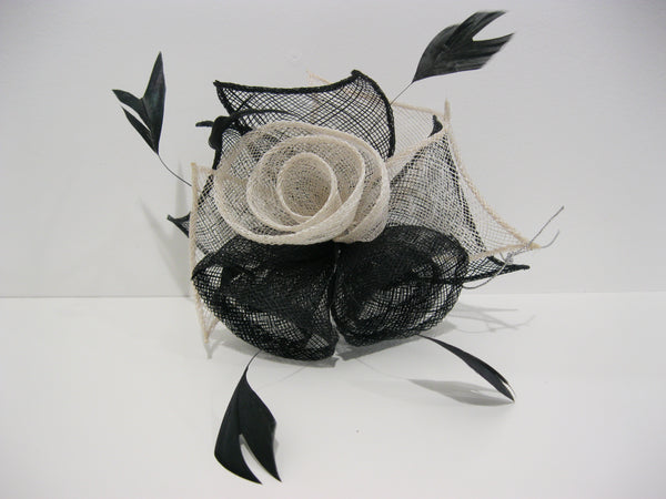 Black & Ivory Rose Fascinator