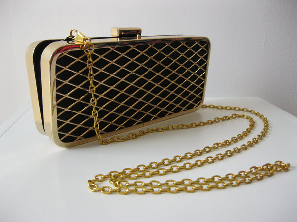 Diamond Black & Gold Clutch Bag