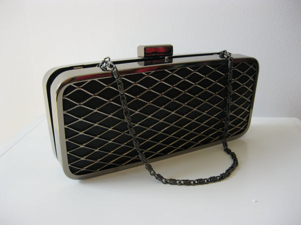 Diamond Black & Silver Pattern Clutch Bag