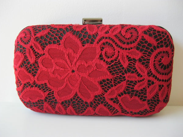 Ruby Red Lace Clutch