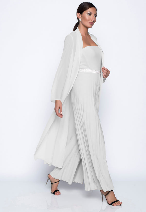 Chiffon Knit Sheer Duster Cover Up Off White 208223 - After Hours Boutique