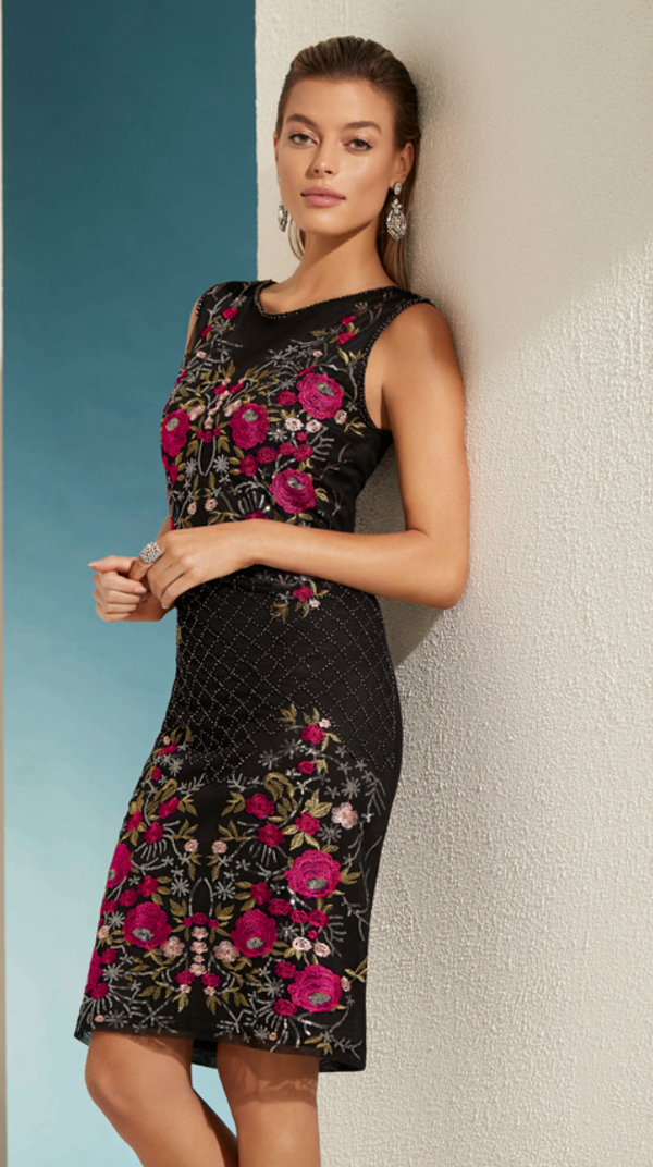 Black & Fuchsia Beaded Dress 208111U - After Hours Boutique