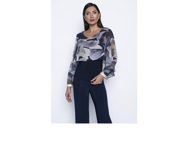 Chiffon Overlay Cuff Blouse 208156 - After Hours Boutique