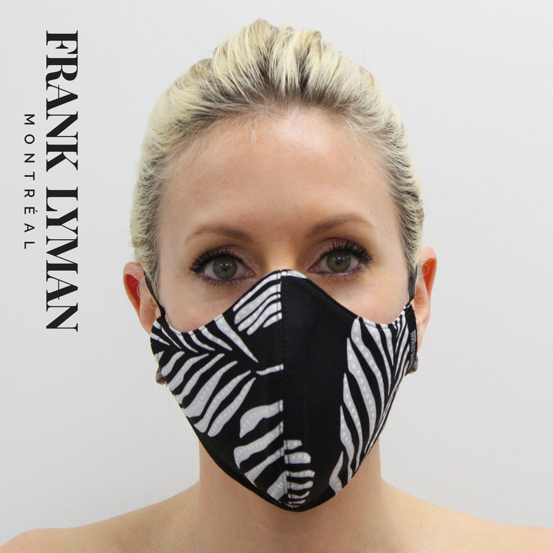 Black and White Foliage Print Face Mask