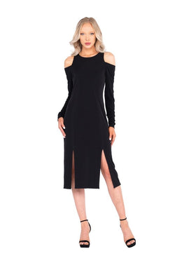 Open Shoulder Four Split Below Knee Dress D12851E - After Hours Boutique