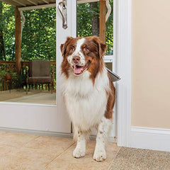 PetSafe Freedom Aluminum Patio Panel Sliding Glass Dog and Cat Door, Adjustable 76 13/16 inch to 80 11/16 inch - Large White Pet Door