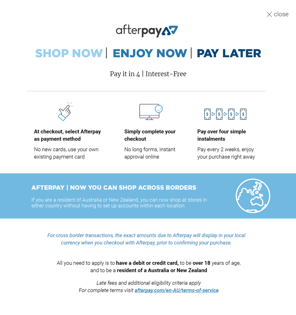 Afterpay Lightbox