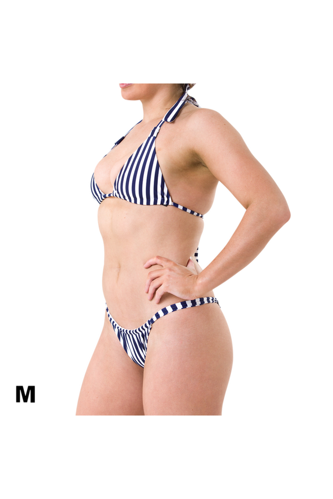 Medium Charlie halter top and Florence bikini bottom in blue and white stripe recycled material