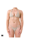 Medium Charlie halter top and Florence bikini bottom in Tan recycled material