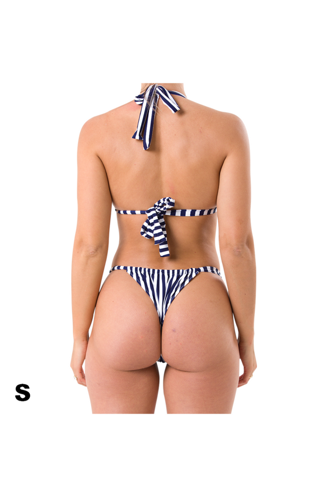 Small Charlie halter top and Florence bikini bottom in blue and white stripe recycled material