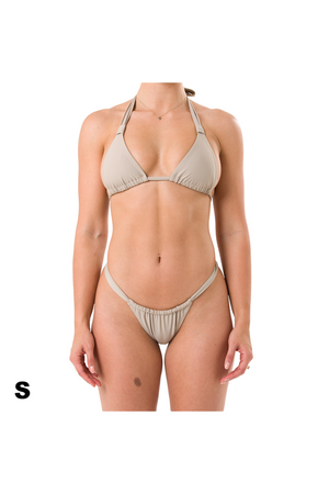 Small Charlie halter top and Florence bikini bottom in Tan recycled material