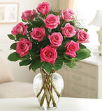12 Roses with Greenery in a Vase