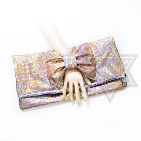 Illusion ribbon Clutch bag(Gold,Silver)