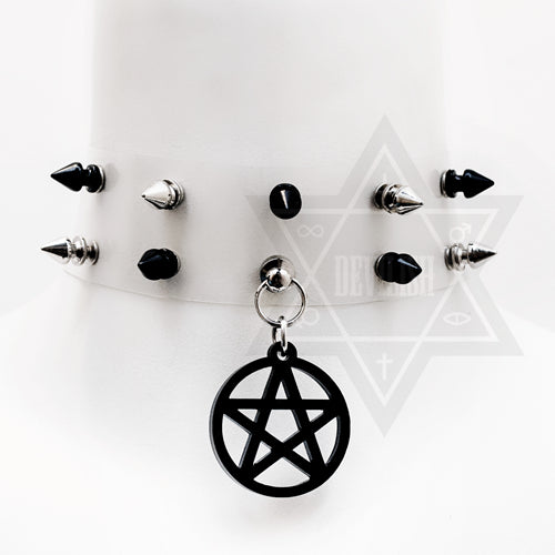 Transparent pentagram choker