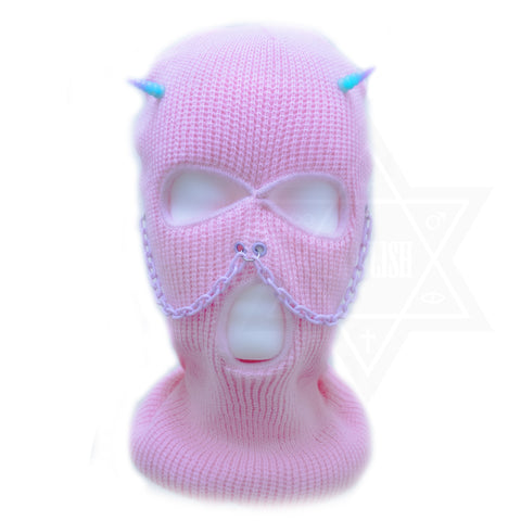 Pink demon beanie mask