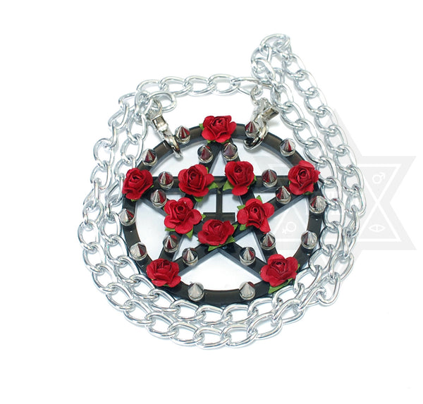 Thorny pentagram necklace(Clear,Black)