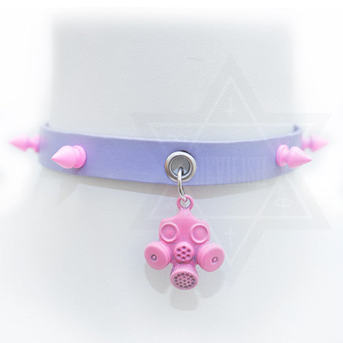 pink gas mask choker