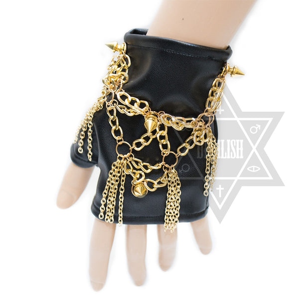 Golden chained glove