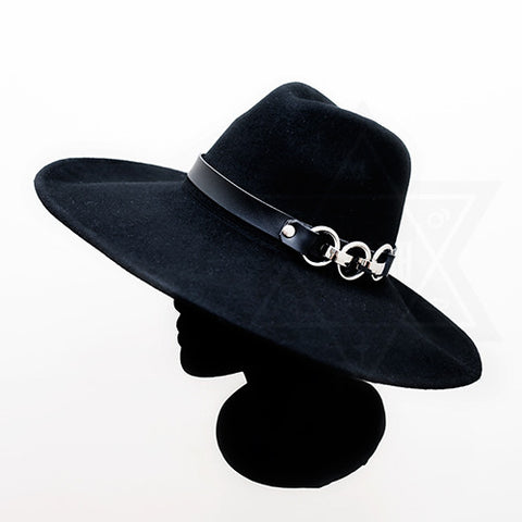 leather chained hat