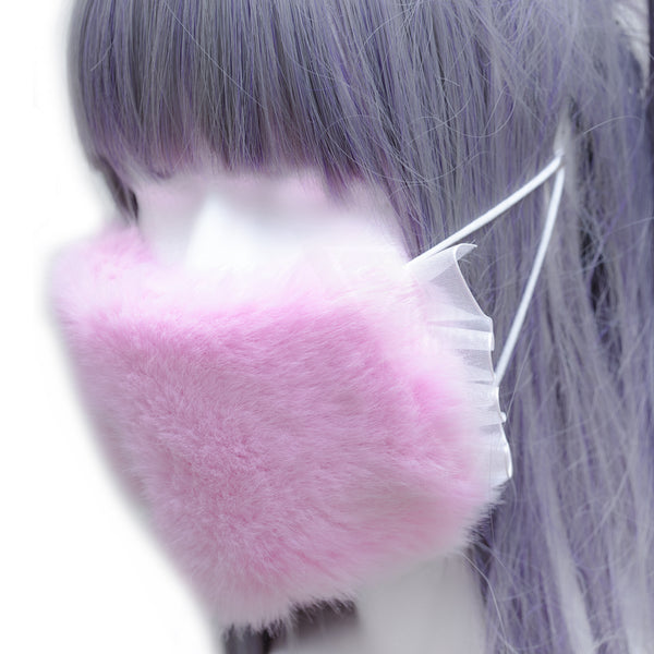 Punky heart fluffy mask