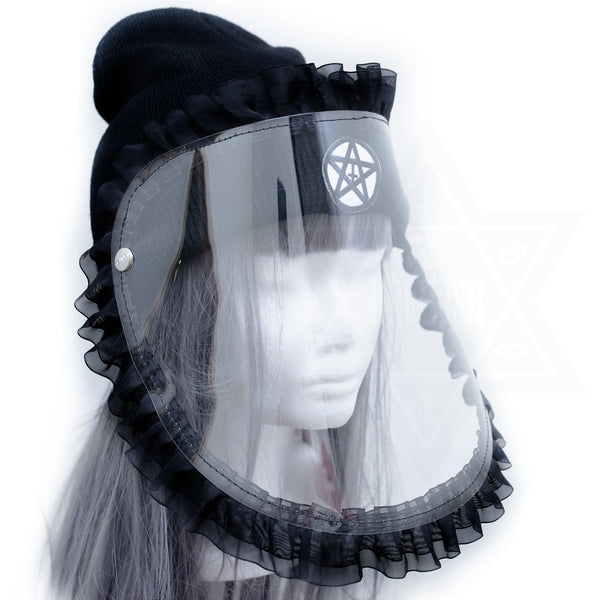 Frilled face shield beanie