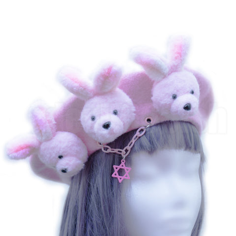 Pink little rabbits beret
