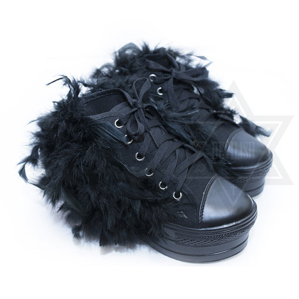 Fluffy sneakers(Black.White)