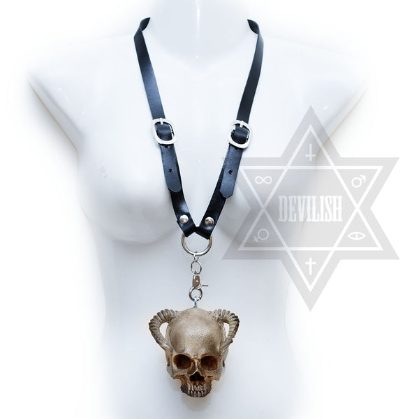 Demonic skull necklace
