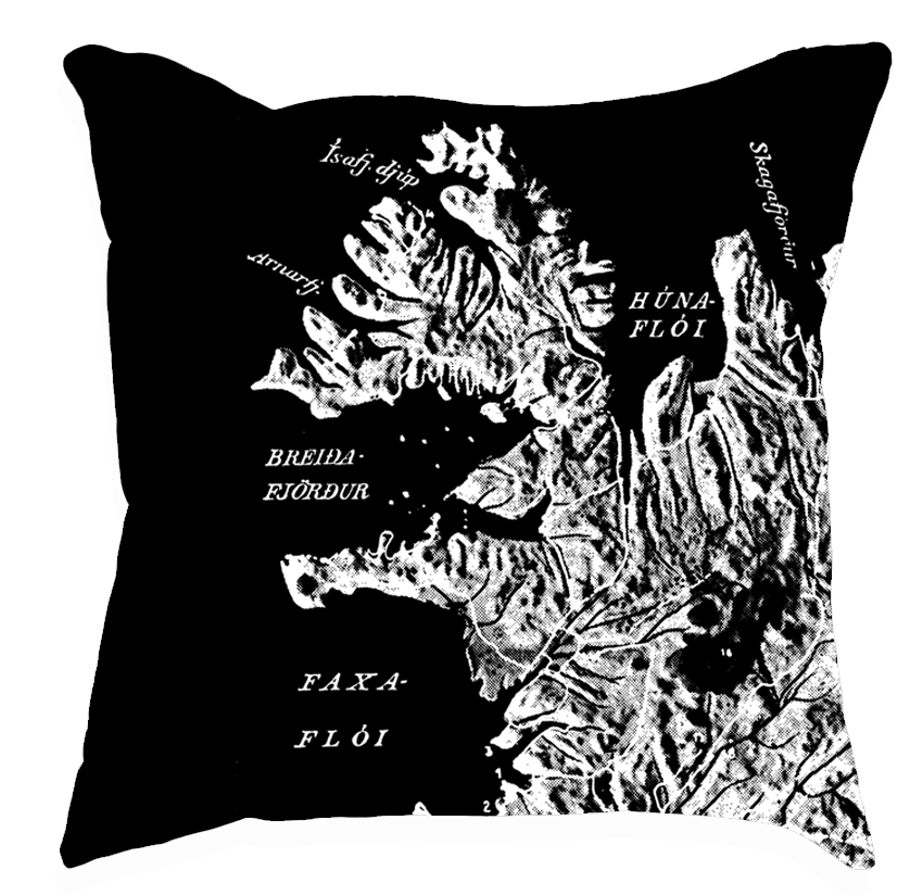 Ísland á svörtu - Íslandspúðar / Iceland Black Pillows