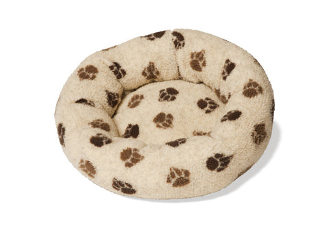 Beige Sherpa Fleece Cushion Dog Bed 20""