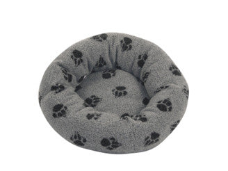 Grey Sherpa Fleece Cushion Dog Bed 20""