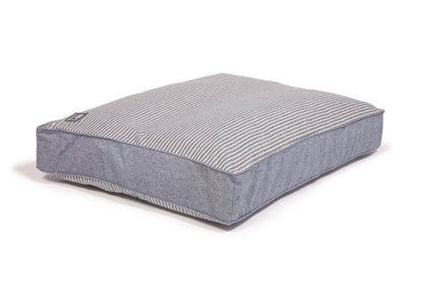 Maritime Box Duvet Dog Bed Blue Denim with Blue / Cream Stripe
